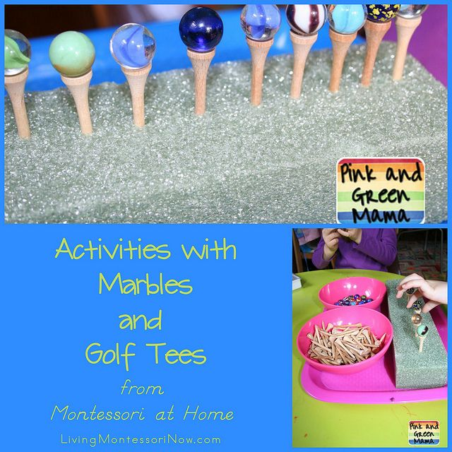 Activities with Marbles and Golf Tees from Montessori at Home (excerpt with fun practical life activity and extensions along with information about the newly published 3rd edition of Montessori at Home!)