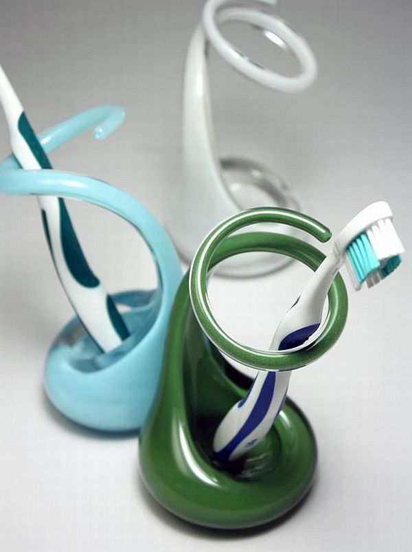 Creative Glass Toothbrush Holders by Brad Turner