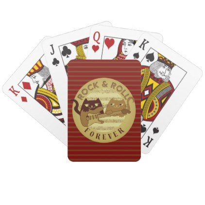 Cat Rock Music Electric Guitar Golden Stripes Chic Playing Cards - chic design idea diy elegant beautiful stylish modern exclusive trendy