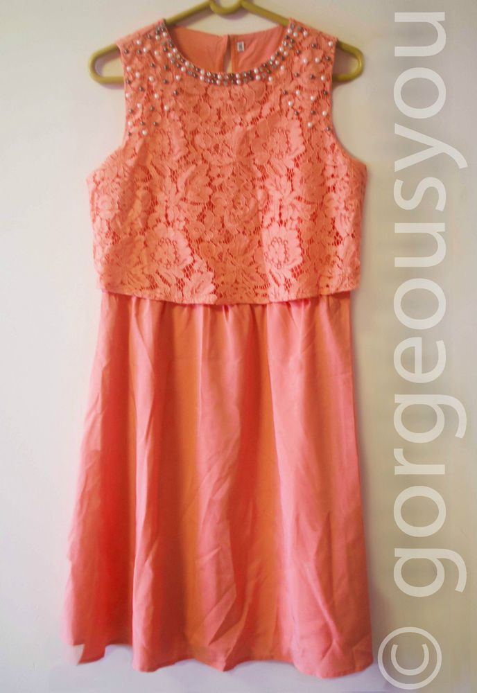 Women Dress Pearl Embellished Coral Colored Party Wear Skater Dress | eBay