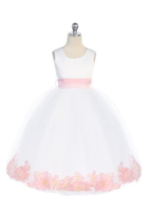 in PINK! Satin long dress w/petals and flower on the back