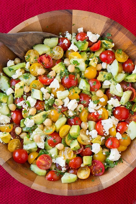 Tomato Avocado Cucumber Chick Pea Salad with Feta and Greek Lemon Dressing   Cooking Classy