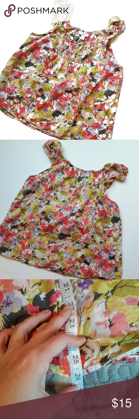 loft ⏺  floral top In great condition! Purple, red, black, white and brown in color. Bust and length Measurements provided in pics above. 100% cotton. Stretchy. Loose fitting. Fits more like a large than a medium. Ruffles on the straps. From a smoke and pet free home. Fast shipping! Office - Vacation - Wedding - Fun - Dress up - date night - cruise - spring - summer *IF YOU LIKE MY ITEMS, please FOLLOW ME to see NEW ARRIVALS that are added weekly! * LOFT Tops
