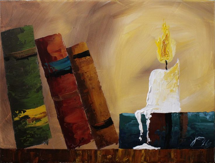 Old books by candlelight step by step acrylic painting on canvas for beg