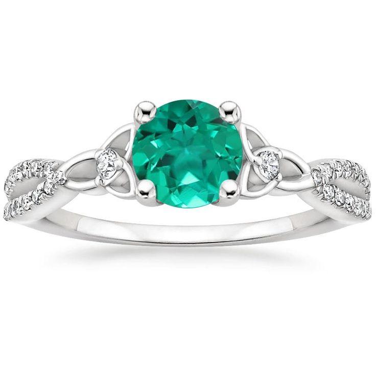 Heart Cut Luxe Entwirrt Celtic Love Knot Diamant-Verlobungsring – 18 Karat Weißgold (Einstellungspreis)