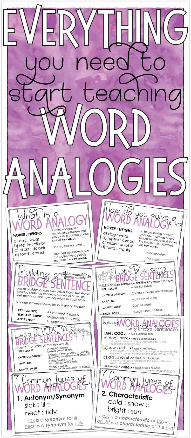 Free resources to start teaching your students how to solve word analogies.
