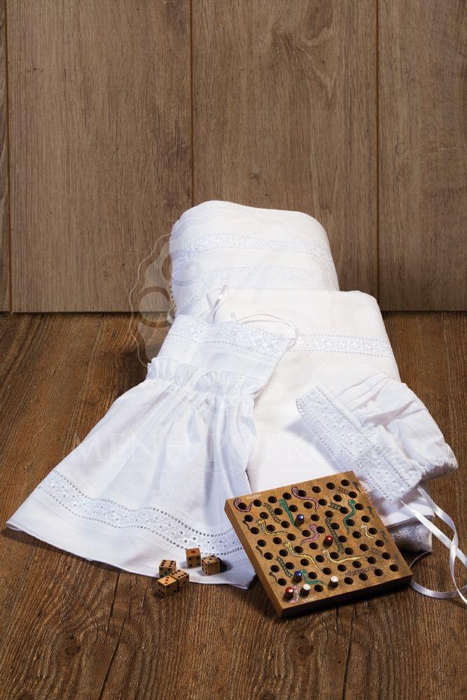 Classic beauty Christening lathopana - oil set with kippur lace
