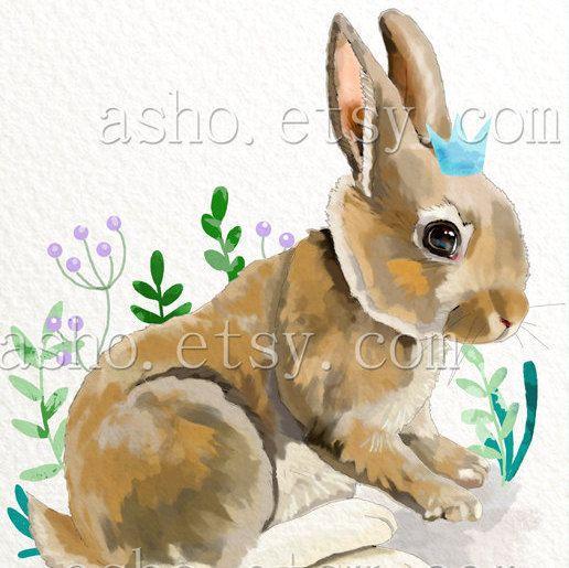 Konijn afdrukken kunst aan de muur bunny bos kwekerij door asho