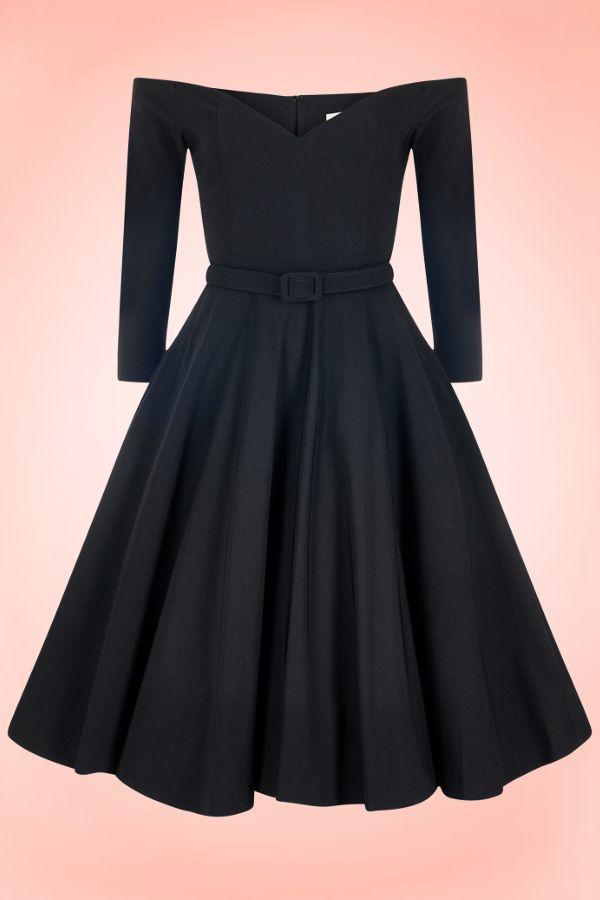 c1b9c774990c robe-rétro-annees-50-decollete-coeur-epaules-denudees-manches-3-4-vintage -noire