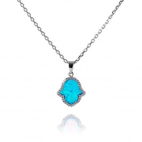 Stříbrný náhrdelník s opálovým ornamentem