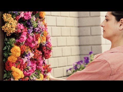 jardín vertical con flores de interior