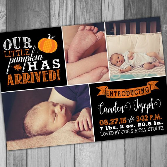 28 best Baby Birth Announcements images – Fall Birth Announcements