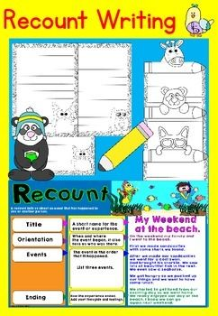 Recount Writing This is the perfect recourse for getting your students to write about what they did on the holidays and more! The recount poster goes over step-by-step instructions, making it easier for them to understand. By scaffolding the information in the poster it makes recount writing so easy to teach!Included:Recount PaperNow for the exciting part!