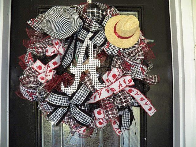 XL Alabama Football Wreath, Alabama Door Hanger by OccasionsBoutique on Etsy https://www.etsy.com/listing/200767302/xl-alabama-football-wreath-alabama-door