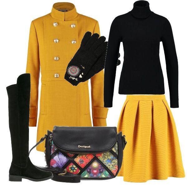 Ricorda il colore del sole la tonalità del giallo della gonna a campana, un modello che sta bene un po a tutte. Qui, viene proposta con un pullover nero a collo alto , degli stivali sempre neri fino al ginocchio e a una borsa fantasia. Sopra, si consiglia un cappotto in stile militare giallo e un paio di guanti con decorazioni sul dorso.