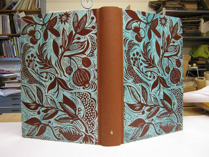 A new Mark Hearld linocut, featured as a hand bound scrapbook made for Mark by Christopher Shaw, Bookbinder.