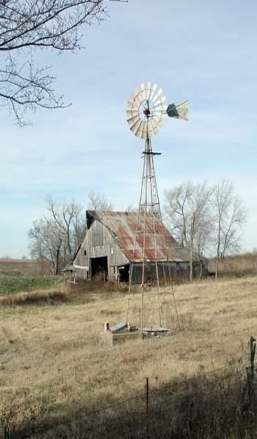 Old Farm Barn & Windmill By Old Well Reminds me of where I grew up…