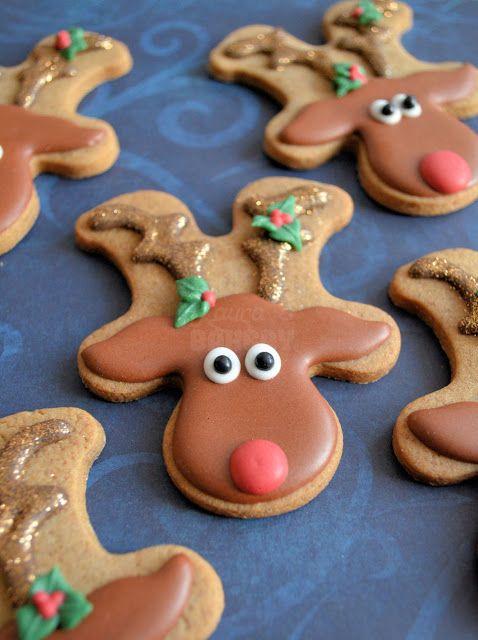 Rudolph the rednosed cookie - cute reindeer rudolph  christmas cookies