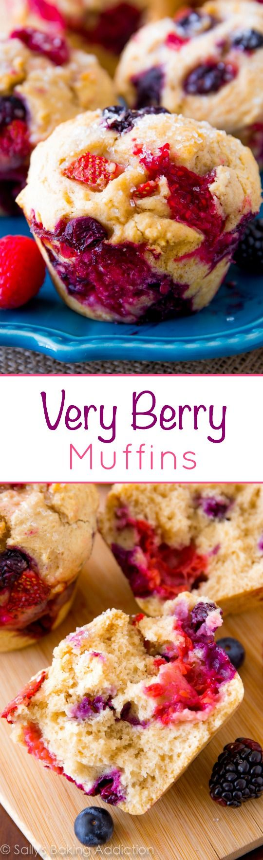 Very Berry Muffins that are bursting with juicy berries-- berries in every bite!