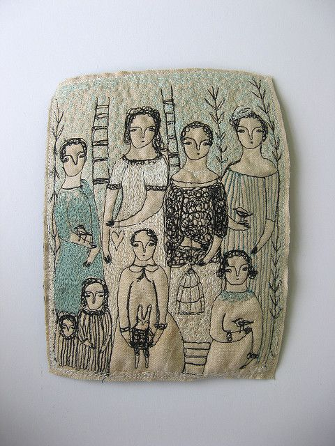 Cathy Cullis (I believe this is machine stitched...but could also do something like this by hand.):