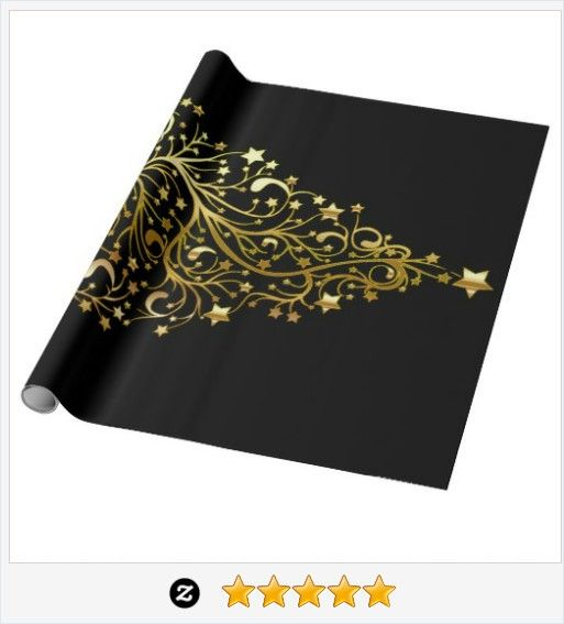 Black Gold Elegant Chic #Christmas Tree Stars Wrapping Paper #JustSold #ThankYou :) http://www.zazzle.com/black_gold_elegant_chic_christmas_tree_stars_wrapping_paper-256889833639289924