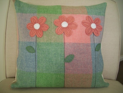 Checked wool blanket cushion cover with felt flowers