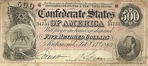 1864 $500 confederate civil war currency - general stonewall jackson - nice note