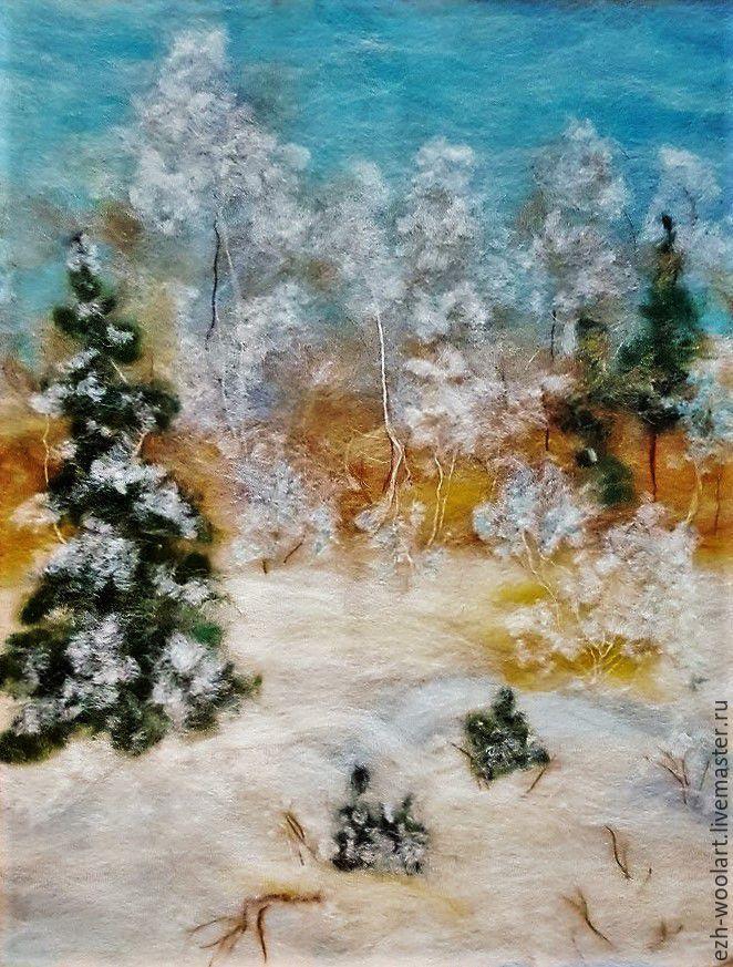 Купить Картина шерстью. Январь. - зима, белый, голубой, елки, зимний лес, живопись шерстью