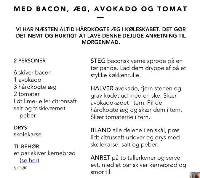 Morgenmadssalat med bacon, æg, avokado og tomat