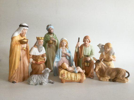 Vintage Nativity Set 9 Piece Set Ceramic Nativity Homco Nativity Scene Christmas Figurines Vintage Christmas P Nativity Set Christmas Figurines Nativity