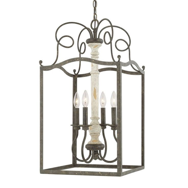 This Vineyard collection 4-light foyer fixture will complement many traditional decors. The perfect contrast of the hand painted French country finish adds interest while the smooth, clean lines of the steel frame work will add elegance to any space.