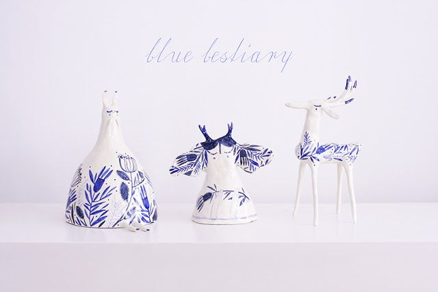*Blue Bestiary* is a series of little porcelain sculptures, delicious one-of-a-kind creatures living in the enchanted Blue China Land, guarding all sweet dreams and innocent matters.  These three babies are the first to introduce you to this fragile family of shy and sleepy little beasts, all love, refinement, double-fired porcelain and underglaze decorations.
