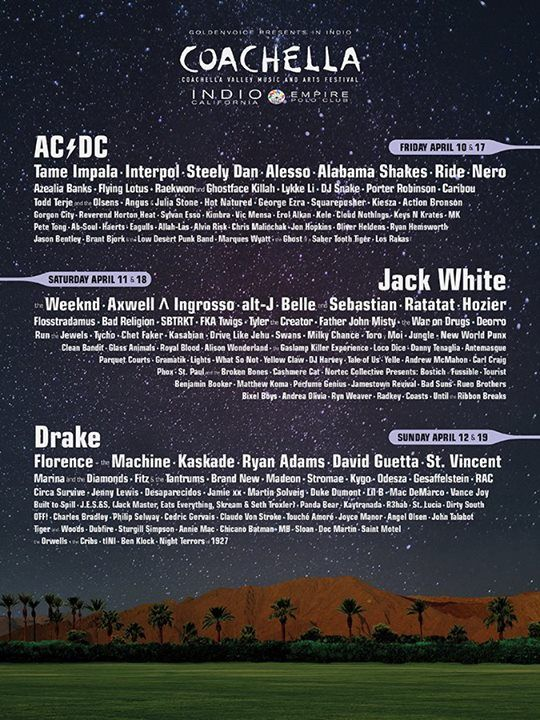 Coachella 2015 Lineup Announced: AC/DC to Headline, official 2015 lineup for Indio California festival will also feature Ride, Interpol, Swans and FKA Twigs