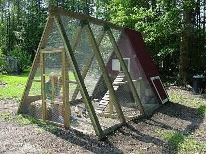 A-frame coop idea with glass  would make great green house.