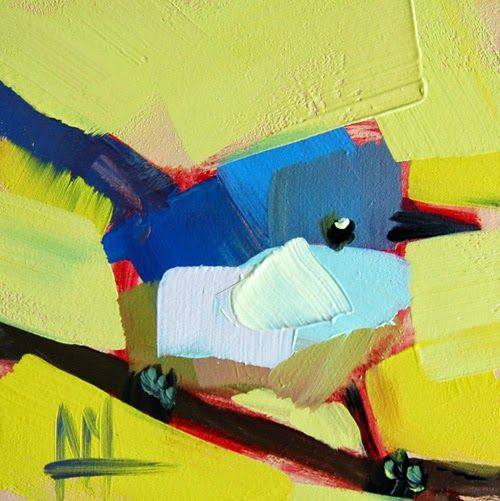 Blue Gray Gnatcatcher no. 7 Painting | angela moulton's painting a day