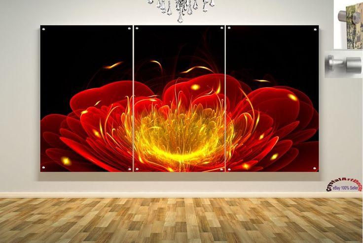 Wall Art Decor Floating Acrylic Glass Plexiglass Modern Art Flower Abstract #Handmade #Modern