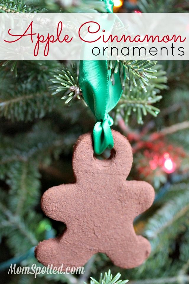 DIY Apple Cinnamon Ornaments {2 Ingredient Recipe} Easy Kids Christmas Craft Project. Tutorial found on momspotted.com