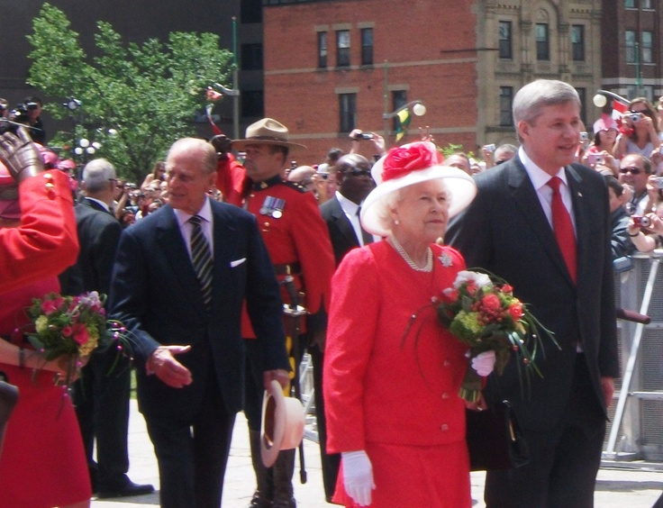 Queen Elizabeth II, Prince Philip, PM Stephen Harper  Canada Day 2010 on Parliament Hill, Ottawa, ON