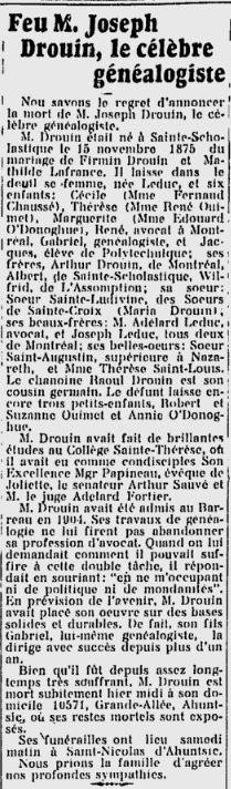 Notice nécrologique de Joseph Drouin, le célèbre généalogiste.