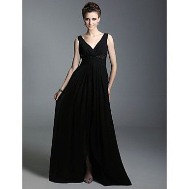 Chiffon A-line V-neck Floor-length Evening Dress inspired by Sex and the City – US$ 116.99