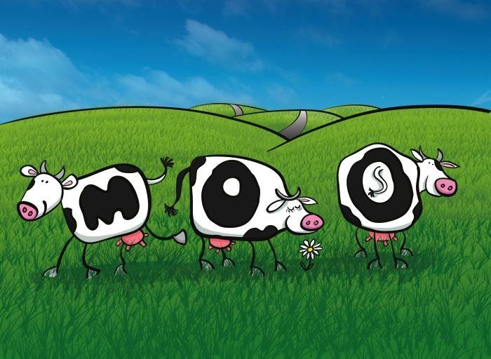 cows, cartoon, field, digital illustration