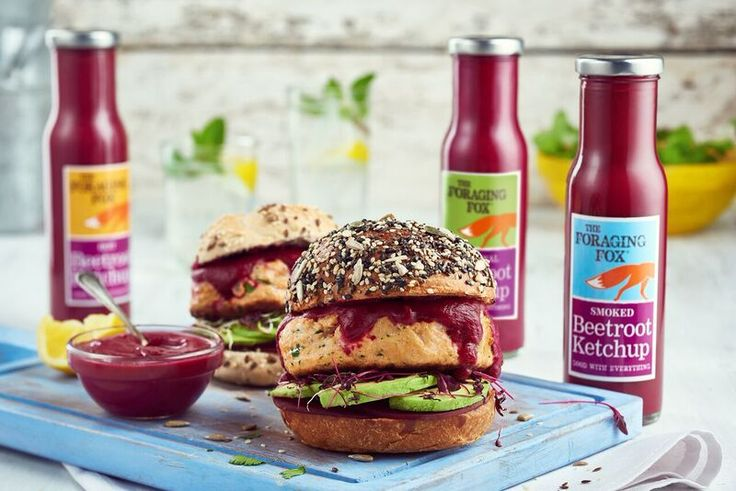 The Foraging Fox Beetroot Ketchup with salmon burger