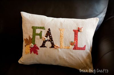 BeanBugCrafts: Easy Fall Applique and Envelope Pillow Cover
