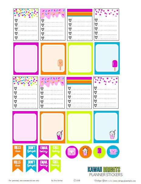 Free Printable Kawaii Brights Stickers for your Planner from VIntage Glam Studio