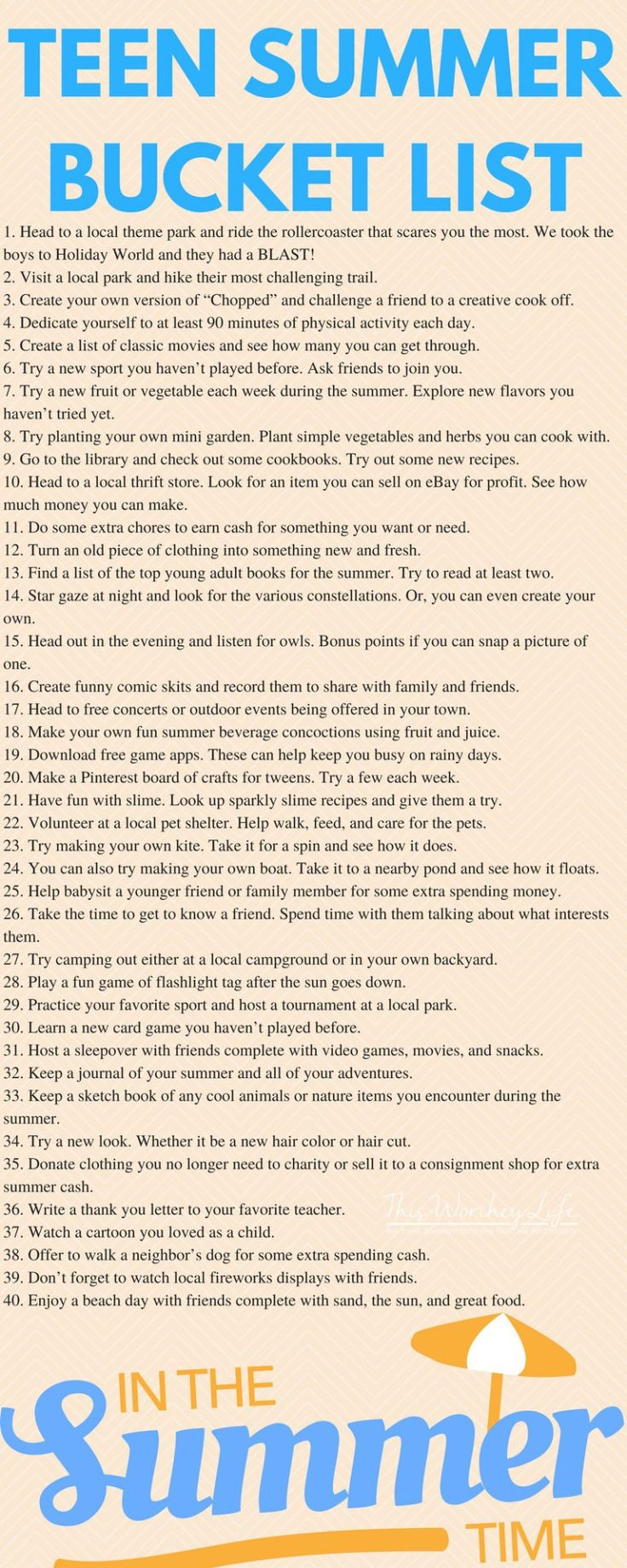 Summer Bucket List for Teens