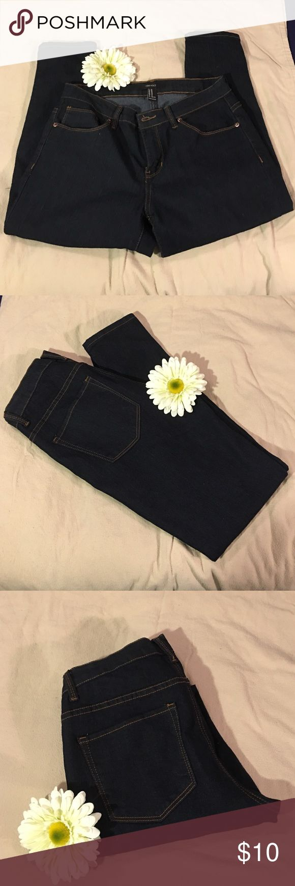 Dark Wash Stretch Jeans 29 Forever 21 Dark Wash Stretch Straight Leg Jeans Size 29 Forever 21 Jeans Straight Leg