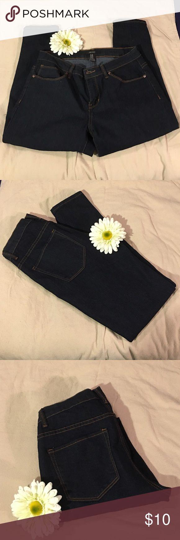 Dark Wash Stretch Jeans 29 Forever 21 Dark Wash Stretch Straight Leg Jeans Size 29 Forever 21 Jeans Straight Leg