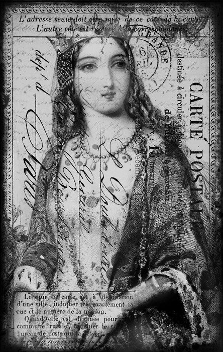 Great postcard graphic, typography, royalty, queen, crown, butterfly, script, French.  Would be fun to use in a transfer project.  Just print in reverse on a laser printer and use Artisan Enhancements Transfer Gel to apply image to your painted surface.