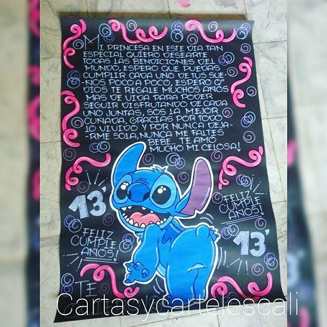 Cartel De 1 Metro De Cartulina Negra Cartasycartelescali Stich Cumpleanos Cartas Cali Diy Birthday Gifts Cute Boyfriend Gifts Album Diy