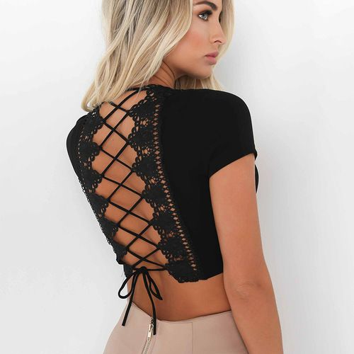 Open Back Lace-up Top- Black